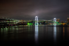 Japan tokyo, rainbow bridge at night Royalty Free Stock Photo
