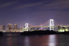 Tokyo Rainbow Bridge at Night Royalty Free Stock Photos