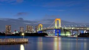 Tokyo Rainbow bridge. Over bay waters at dusk Royalty Free Stock Photo