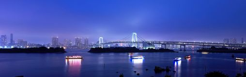 Tokyo Rainbow Bridge Panorama Stock Photo