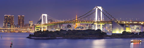 Tokyo Rainbow Bridge in Tokyo, Japan at night Royalty Free Stock Photos