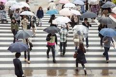 Tokyo rainy crossing Stock Photo