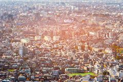 Tokyo residence area aerial view. Cityscape downtown Japan stock image