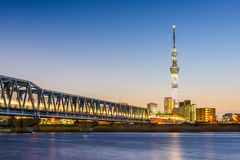 Tokyo River Skyline. Tokyo, Japan skyline from the Arakawa River Stock Image