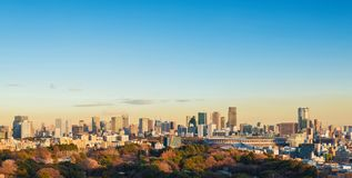 Tokyo Roppongi and Minato at sunset. Tokyo Roppongi and Minato District skyline at sunset with copy space above royalty free stock image