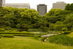 Tokyo Royal park. And modern buildings Royalty Free Stock Images