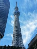 Tokyo's Skytree. View of Tokyo´s Skytree tower from the ground Royalty Free Stock Images