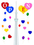 Tokyo Sky Tree. Background illustration of balloons and Tokyo Sky Tree Vector Illustration