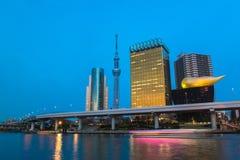 Tokyo Sky tree and Azumabashi Riverside Royalty Free Stock Images