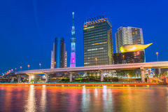 Tokyo Sky tree and Azumabashi Riverside Royalty Free Stock Photography