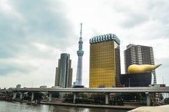 Tokyo Sky tree and Azumabashi Riverside Royalty Free Stock Photos