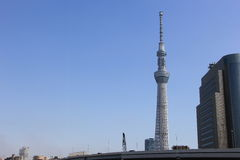 Tokyo sky tree blue sky background. Tokyo,Japan March 13, 2016:View of Tokyo Sky Tree, the highest free-standing structure in Japan Royalty Free Stock Photo