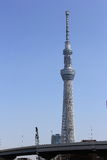 Tokyo sky tree blue sky background. Tokyo,Japan March 13, 2016:View of Tokyo Sky Tree, the highest free-standing structure in Japan Royalty Free Stock Photos