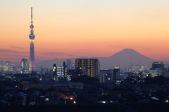 Tokyo sky tree and Fuji Royalty Free Stock Image