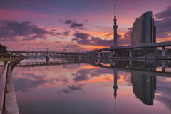Tokyo Sky Tree and Sumida River, Tokyo, Japan at sunrise Stock Images