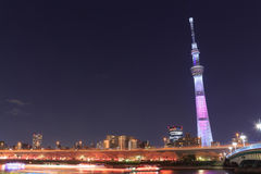 Tokyo Sky Tree and Sumida river in Tokyo at night Stock Image