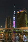 Tokyo Sky Tree and Sumida river in Tokyo at night Stock Photography