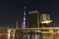 Tokyo Sky Tree and Sumida river in Tokyo at night Royalty Free Stock Photography