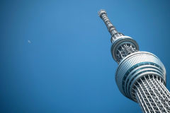 Tokyo Sky Tree tower with the aeroplane from the far of clear sk Stock Photography