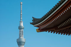 Tokyo Sky Tree tower with blurry Sensoji temple japanese roof fo Stock Images