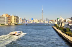 Tokyo sky tree tower in sumida ward, tokyo, japan. This picture shows Tokyo Sky Tree Tower at the background and taken from the Eitai Bashi bridge that crosses Stock Image