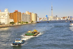 Tokyo sky tree tower , tokyo, japan. This picture shows Tokyo Sky Tree Tower at the background and taken from the Eitai Bashi bridge that crosses the Sumida Stock Photography