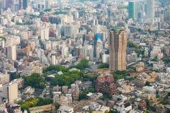Tokyo Skycraper och aeiral skott för höga löneförhöjningbyggnader arkivbilder