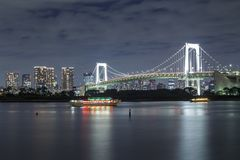 Tokyo bay skyline. Tokyo skyline on the bay with Rainbow Bridge, shot from Odaiba Royalty Free Stock Image