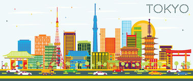 Tokyo Skyline with Color Buildings and Blue Sky. Vector Illustration. Business Travel and Tourism Concept with Modern Architecture. Image for Presentation royalty free illustration