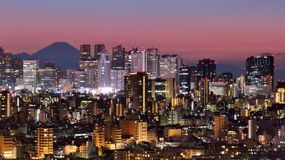 Tokyo Skyline and Fuji Mountain Stock Images