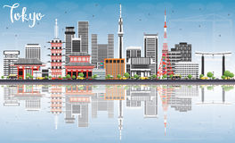 Tokyo Skyline with Gray Buildings, Blue Sky and Reflections. Stock Photos
