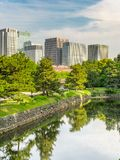 Tokyo Skyline in the Imperial Palace East Gardens, Japan. VIew of Tokyo Skyline in the Imperial Palace East Gardens, Japan japanese asia city castle asian stock photos