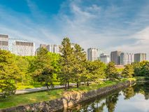 Tokyo Skyline in the Imperial Palace East Gardens, Japan. VIew of Tokyo Skyline in the Imperial Palace East Gardens, Japan japanese asia city castle asian royalty free stock photography