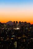 Tokyo Skyline and Mount Fuji. View of Shinjuku and Mount Fuji at sunset stock image