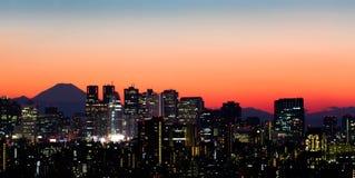 Tokyo Skyline and Mount Fuji. View of Shinjuku and Mount Fuji at sunset stock images