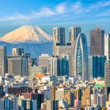 Tokyo skyline and Mountain fuji. In Japan Stock Photo