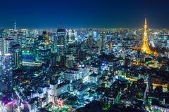 Tokyo-Skyline nachts Lizenzfreies Stockfoto