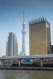 Tokyo skyline near Sumida river, Japan Royalty Free Stock Images