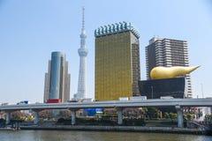 Tokyo skyline near Sumida river, Japan Stock Image