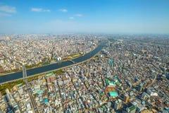 Tokyo skyline Sumida. Aerial view of Tokyo city skyline, Sumida River Bridges and Asakusa area from Tokyo Skytree observatory. Daytime. Tokyo, Japan Royalty Free Stock Photo