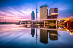 Tokyo Skyline Sumida River. Tokyo, Japan skyline on the Sumida River at dawn Royalty Free Stock Photography