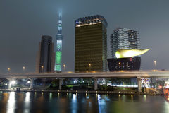 Tokyo skyline from Sumida river. Royalty Free Stock Image