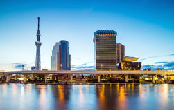 Tokyo skyline on the Sumida River. At twilight Stock Images