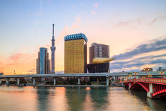 Tokyo skyline on the Sumida River. At twilight Royalty Free Stock Image