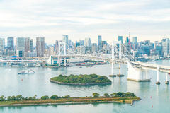 Tokyo skyline with Tokyo tower and rainbow bridge. Royalty Free Stock Photo