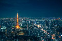 Tokyo Skyline and view of skyscrapers on the observation deck at. Night time in Japan stock images