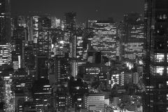 Tokyo Skylines at Night. The skylines in Shimbashi and Hibiya districts in Tokyo at night stock photography