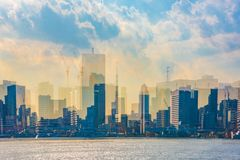 Tokyo Skyscrape from the port in sunset vector illustration