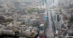 Tokyo Skyscrapers and Highways Aerial view. Royalty Free Stock Images