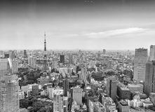 Tokyo skyscrapers and Tokyo Tower aerial view Stock Images